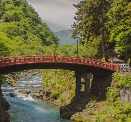 red bridge in Nikko Japan