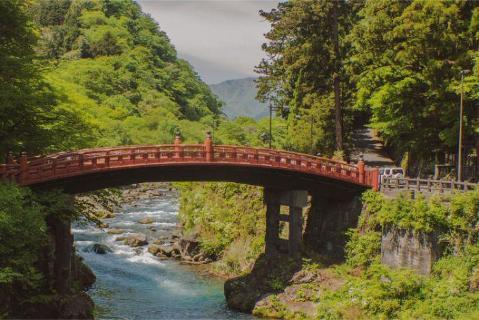red bridge in Nikko Japan