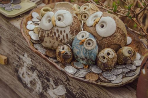 close up of ceramic owls sold at iyashi no sato village in Fujikawaguchiko