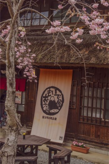 close up of side of iyashi no sato hut