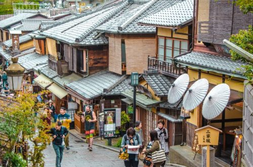 busy street in Kyoto's Gion district