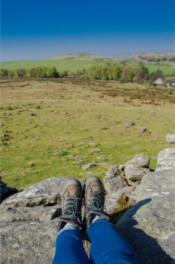 Sunny day at Hound Tor in Dartmoor National Park, Devon, England