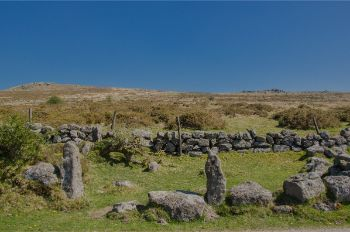old stone walls with gate in Dartmoor NP