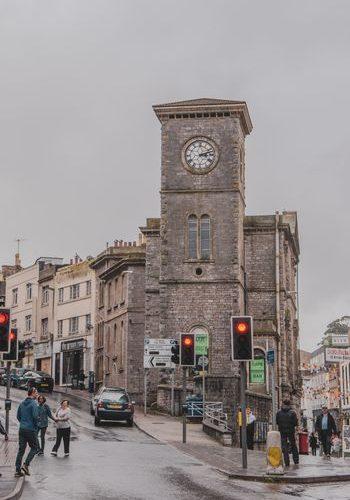 streets of Torquay Devon on a rainy day