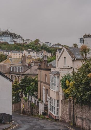 streets of Torquay Devon on a rainy day