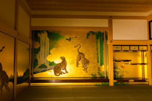 inside Nagoya Castle, Japan - the golden room with historic wall paintings