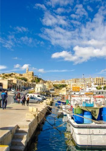sunny weather over harbour at Mgarr Gozo