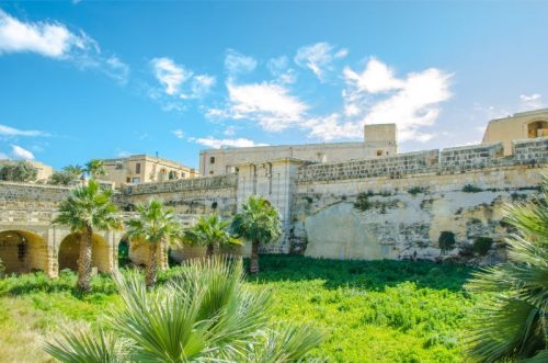 bright sunshine over the ruins of Fort Chambrai, Gozo (now residential area, no public access)
