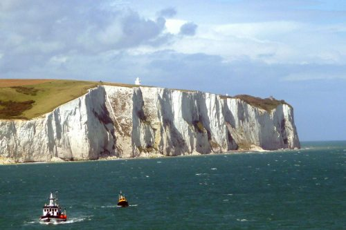 white cliffs of Dover with boats