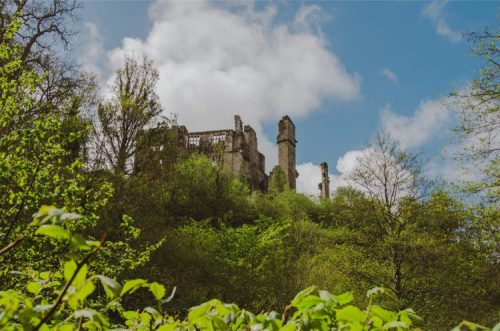 Berry Pomeroy Castle seen from afar, Devon, England