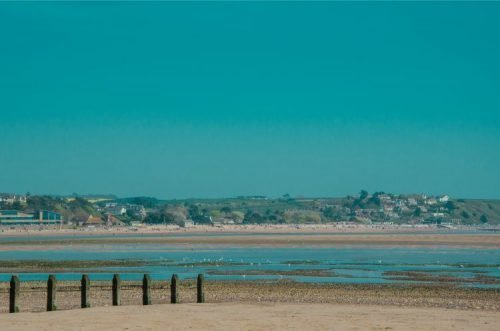 Dawlish Warren beach with view over Exmouth, Devon, England