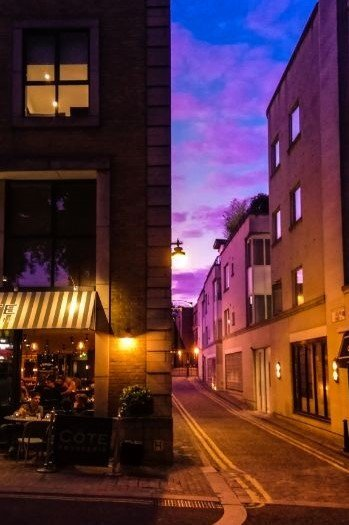 night street with cafe in Islington