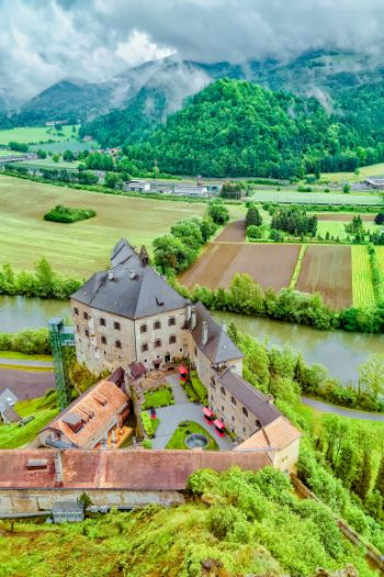 aerial view over the Castle Rabenstein near Graz, Austria