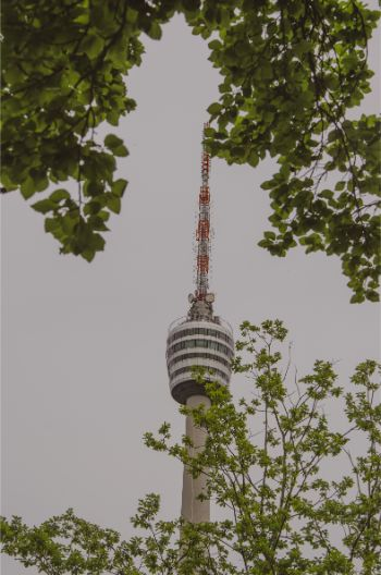 the top of the Stuttgart TV Tower as seen through the foliage of trees on a grey day