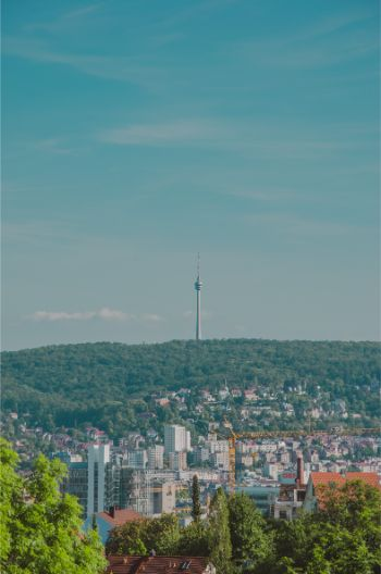view from Stuttgart Mitte to the sleek silhouette of the Stuttgart TV Tower up on the hills