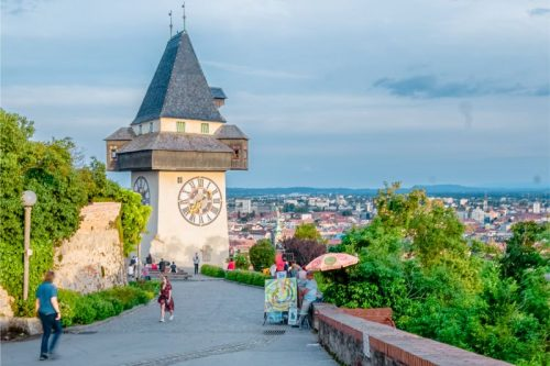 Schlossberg Tower in Graz with a great view over the city