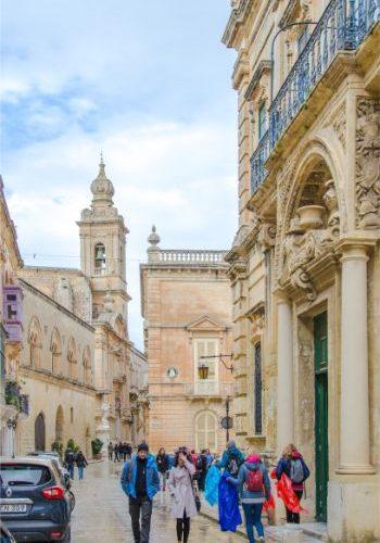 busy street in Mdina, Malta