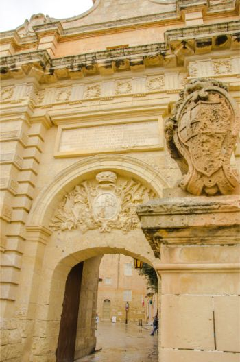 detail of Mdina Gate in Malta