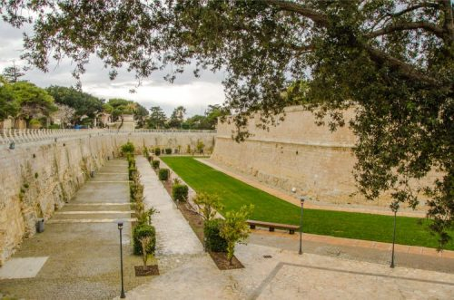 outside gardens along Mdina's city walls in Malta on a rainy day