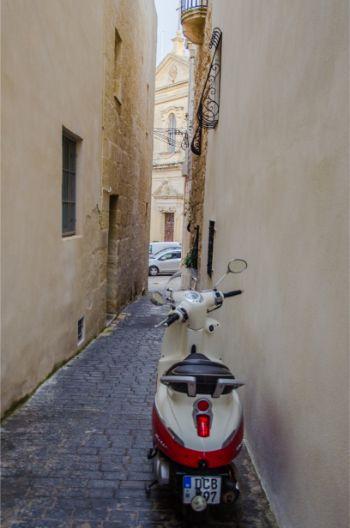 a lone vespa in Rabat's streets, Malta
