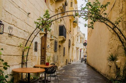 closed outdoor seating area in Rabat, Malta