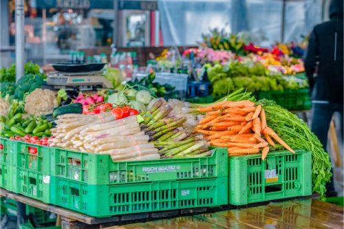 farmers market with fresh greens in Graz, Austria
