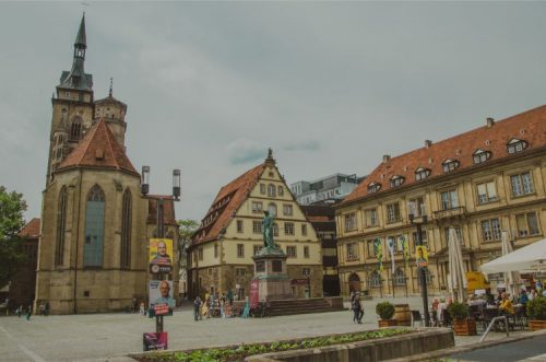 market place with restaurants in stuttgart, germany