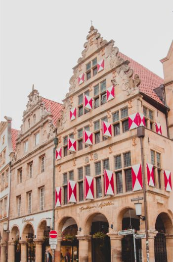 the original historic house on the street Prinzipalmarkt in Münster Germany