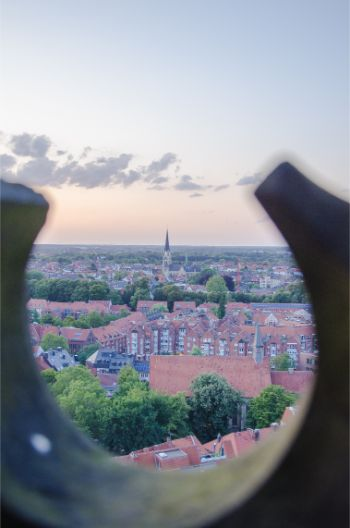 view from St Lamerti in Münster at sunset
