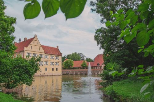 Burg Hülshoff seen from beyond the moat lake