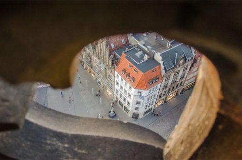 view from St Lamerti in Münster over Prinzipalmarkt down below