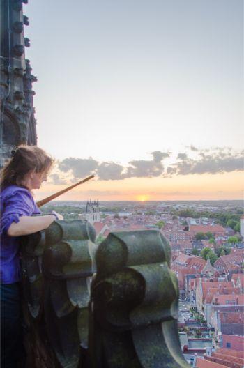Martje Salje looking out overin Münster, Germany