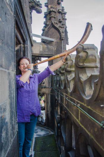 St Lamberti watchwoman tooting her horn in Münster