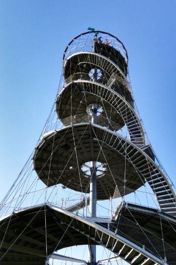 metallic tower winding stairs at Karlshöhe, Stuttgart, Germany