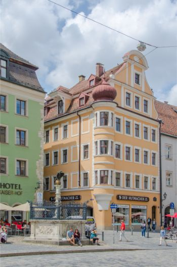 colourful houses around market in Regensburg, Germany