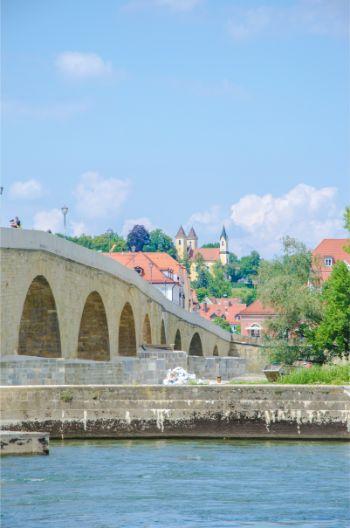 stone bridge in Regensburg, Germany