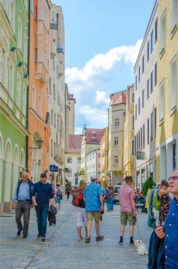busy street of Regensburg, Germany