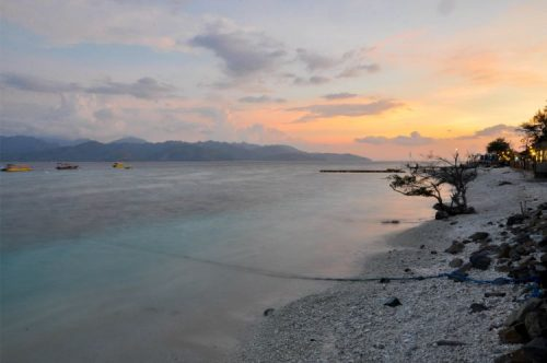 orange sunset at Gili T shores, Indonesia