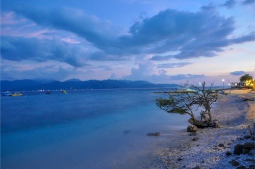 wonderful blue sunset along the windy shores of Gili Trawangan, Indonesia
