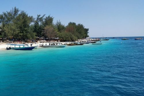 boats along the beaches of Gili T, Indonesia