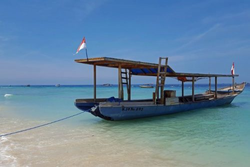 boat anchoring at Gili islands