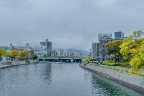 Atomic Bomb Dome in Hiroshima on a cloudy day and coverd by scaffolding, Japan