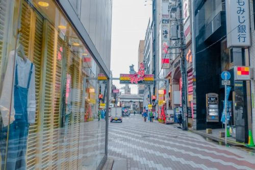 busy road inside the centre of Hiroshima, Japan