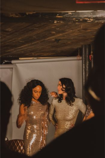 gold, sequins and glam at Marc Bower's presentation in an underground bar at NYFW 2019