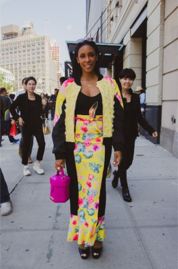 bright yellow tailored fashion of an attendee of NYFW 2019