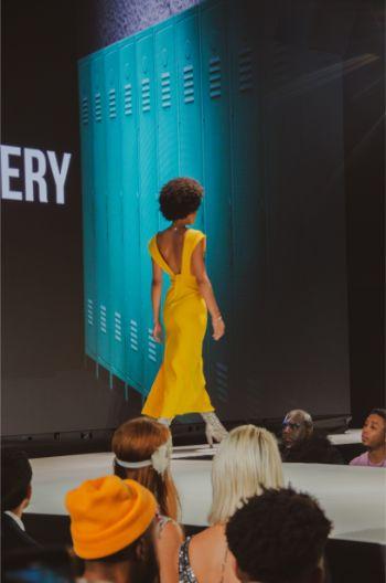 elegant yellow dress at Andre Emery at NYFW2019