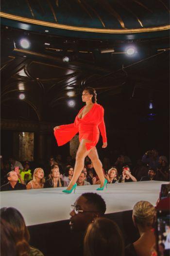 red plunge dress at TLZ L'femme NYFW 2019