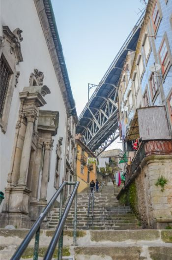 Porto Bridge as seen from below its stairs