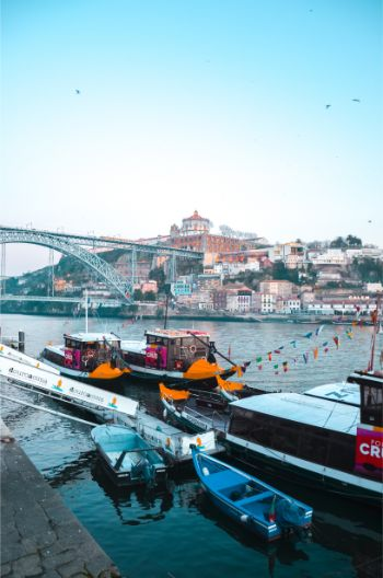 harbourside of Ribiera in Porto, Portugal, at sunset