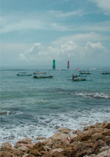 Sanur Beach in Bali on a cloudy day